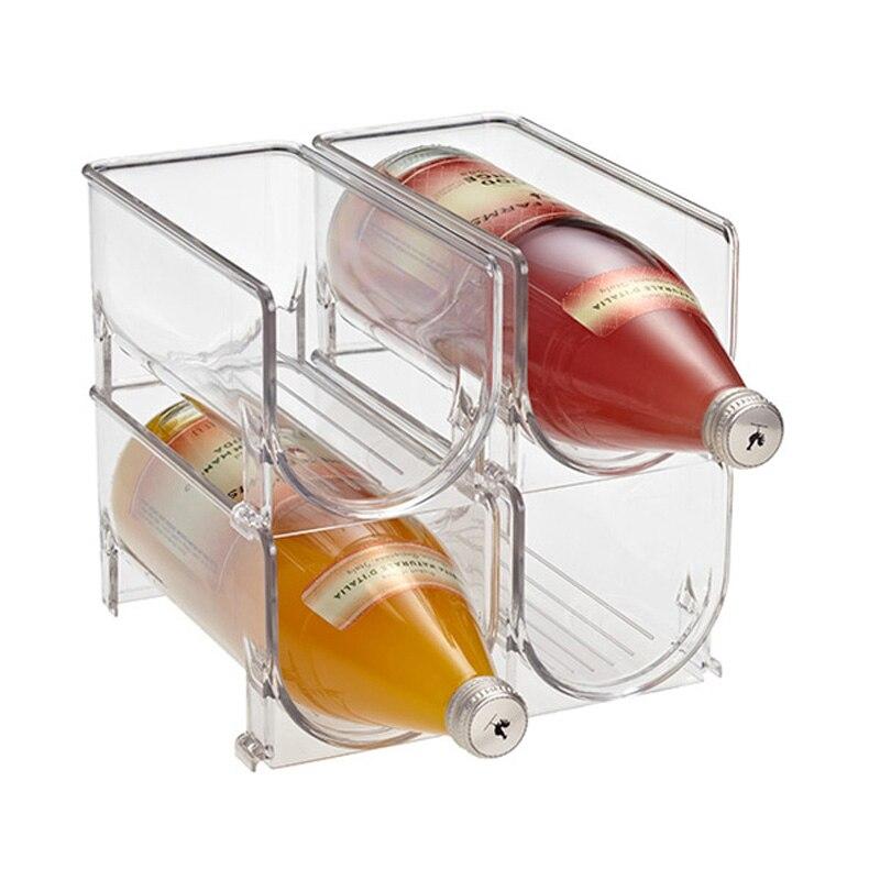 Kitchen Refrigerator Organizer Wine Beer Bottle Storage Rack Stackable Wine Holder Countertop Storage Shelf Space Saving
