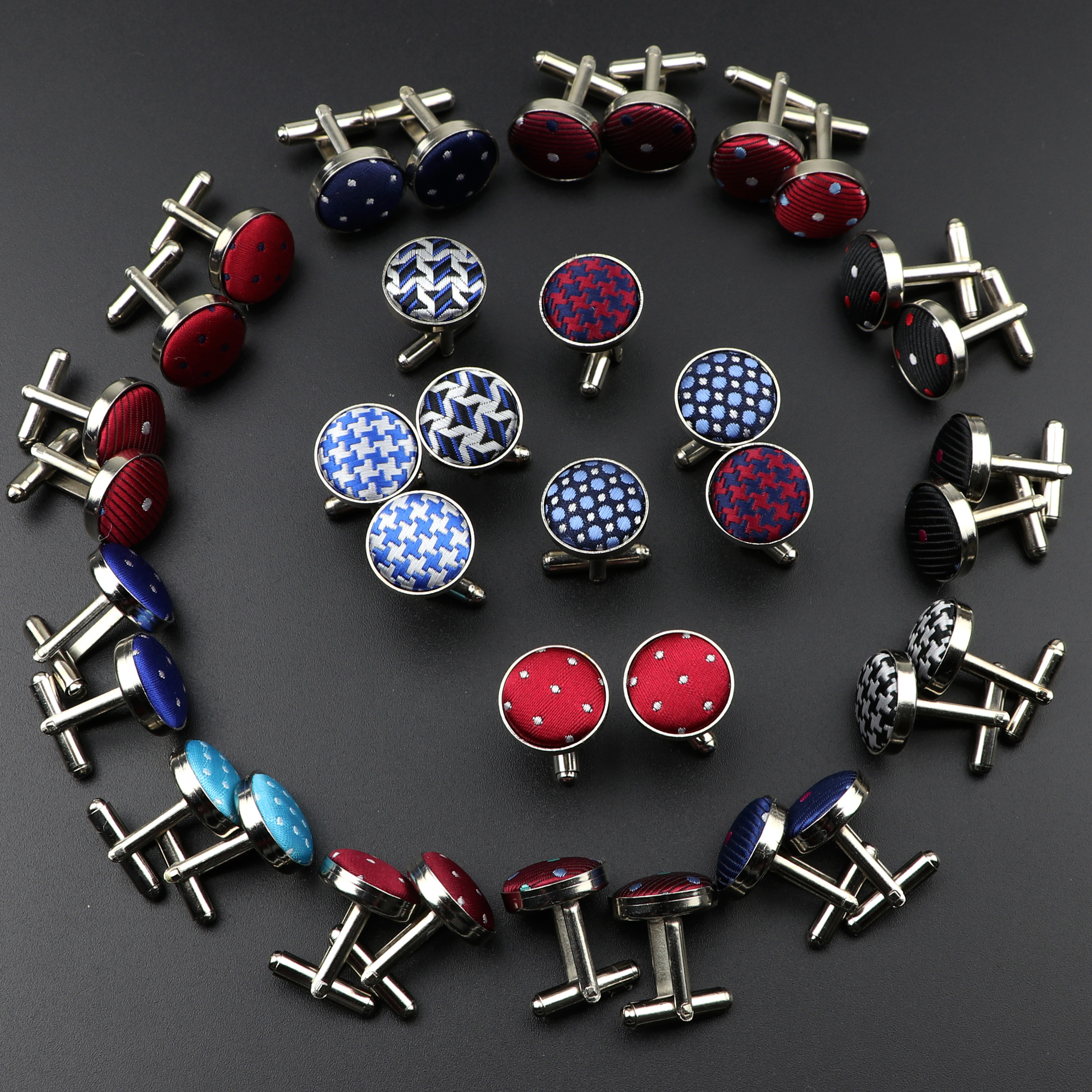Mens Round Braided Jewelry Fashion Shirt Cufflinks For Wedding Party Suit Shirt Stripe Dot Silver Cuff Link Men Accessories Gift