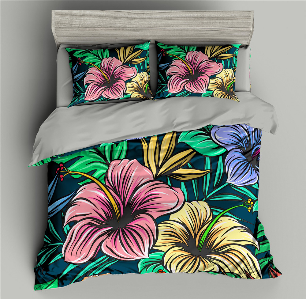 Luxury Flowers 3D Bedding Set Blue Duvet Cover Bedding Comforter Sets Bed Quilt Covers Sets Single/Full/Twin/Queen/King size