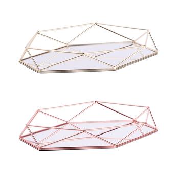 Trójwymiarowa kutego żelaza taca skandynawska minimalistyczna lustro w kolorze różowego złota dolna sześciokątna taca do dekoracji wnętrz tanie i dobre opinie CN (pochodzenie) Jedzenie Ekologiczne Metal Iron Storage Tray Europejska