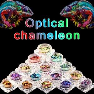 Image 2 - BeautyBigBang 2PCS 0.1g Chameleon Effect Flake Nails Accessories Sequins Mirror Powder Chrome Pigment Glitter Nails Art