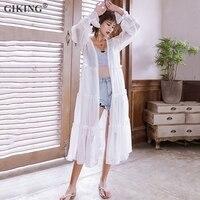 GIKING Long White Kimono Cardigan Women 2019 Long Flare Sleeve Chiffon Blouse Streetwear Holiday Beach Kimono Cardigan feminino