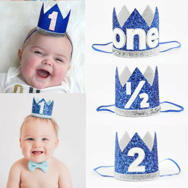 Newborn Infant Toddler Baby Girl Boy Half 1/2 First Second Birthday Crown Party Cake Party Hats Headband Props