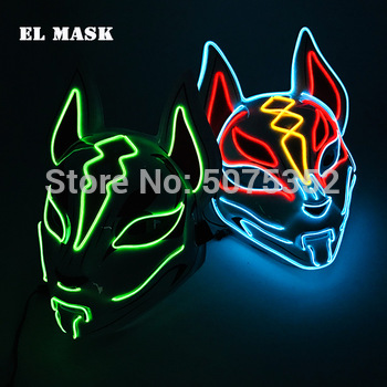 Anime Expro Decor Japanese Fox Mask Neon Led Light Cosplay Halloween Party Rave Dance DJ Payday Costume Props