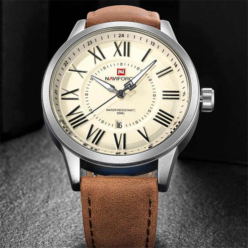 Naviforce Top Marke Luxus Männer Sport Lederband Männer Uhren Quarz Datum Uhr Mann Wasserdichte Armbanduhr Relogio Masculino