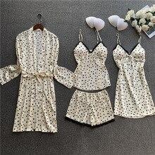 Women Pajamas 4 Pieces Satin Pajamas Sets Sleepwear Silk Home Wear Sleep