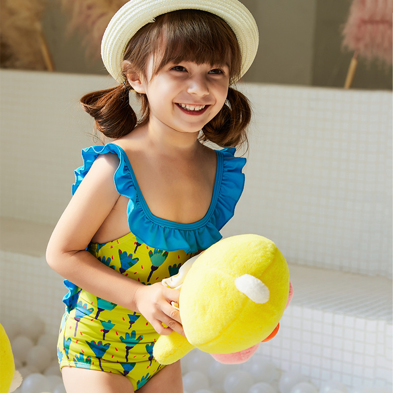 2019 Europe And America New Style Hot Sales KID'S Swimwear One-piece Flounced Backless Printed Hipster Cute GIRL'S Swimsuit