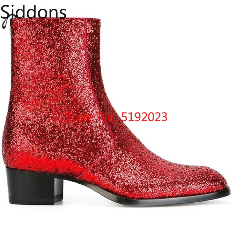 Winter Men Fashion Luxury Pointed Toe Chelsea Red Boots Vintage Comfortable Mid Calf Boots Zipper Male Casual Boot D187