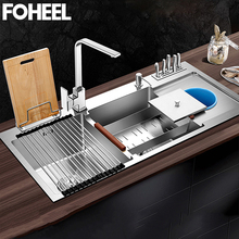 Carrier Basin Kitchen-Sink FOHEEL Stainless-Steel-Tool Rectangular And Trash Three Luxurious