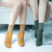 Women Socks Lace Crew Autumn New Fashion Wild Trend Cotton Breathable Non-slip Comfort Color Retro