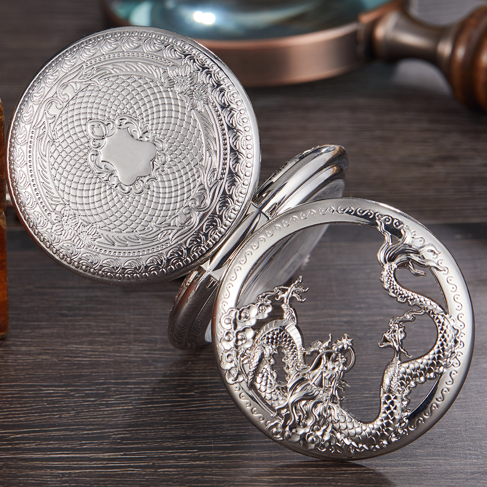 Luxury Silver Mechanical Pocket Watch Dragon Laser Engraved Clock Animal Necklace Pendant Hand Winding Clock Men Fob Watch Chain