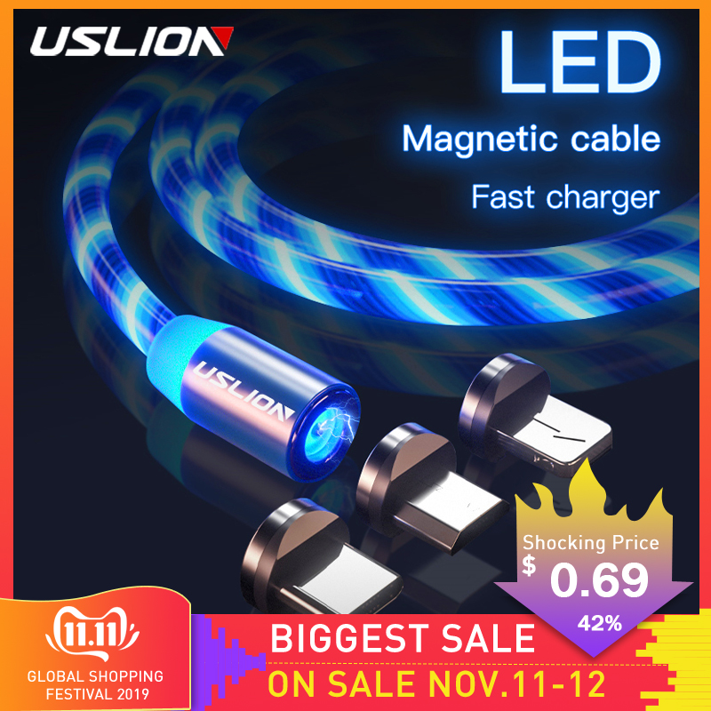 USLION Magnetic Charger Cable Flowing Light Fast Charging Magnet Micro USB Type C Cable For IPhone XS XR LED Magnetic Wire Cord