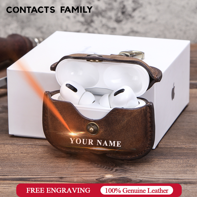 Retro Genuine Leather Case for AirPods Pro Shockproof Cover For AirPods 3 Charging Box case for Airpod 2020 Pro Dustproof Case
