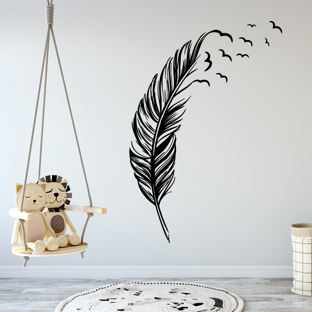Creative  Feather Family Wall Stickers Mural Art Home Decor Nursery Room Decor Sticker Mural