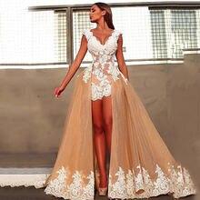 Вечернее платье Русалка цвета шампанского с v образным вырезом
