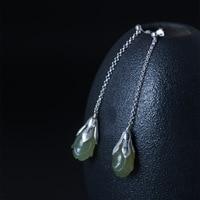 925 Sterling Silver Drop Dangle Earring for Women Magnolia Flower Long Thread Earrings Chalcedony Vintage Jewelry Gifts for Girl