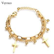 Модные браслеты подвески из нержавеющей стали для женщин золотой