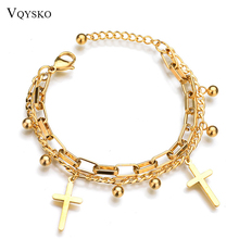 Fashion Stainless Steel Cross Charms Bracelets For Women Gold Color Beads Chain Bracelet Religious Rosary Jewelry ailodo rose gold color titanium steel chain link bracelets for women love heart charms bracelet femme fashion jewelry ld371