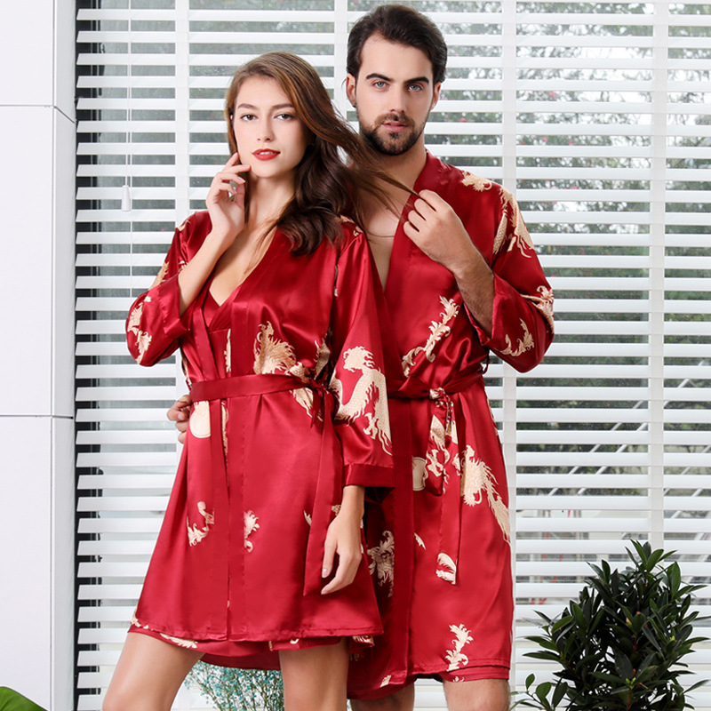 Satin Print Dragon Nightgown Chinese Style Home Dressing Gown Couple Bathrobe Long Sleeve Kimono Gown Bathrobe Soft Sleepwear