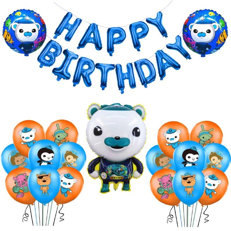 O octonauts folha balões octood barnacles peso kwazii látex balão feliz aniversário decorações crianças animais marinhos brinquedos