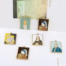 10 teile/los Legierung Emaille Retro kunst malerei relief abbildung Charms Anhänger Für DIY Mode Tropfen Ohrringe Schmuck Machen Zubehör