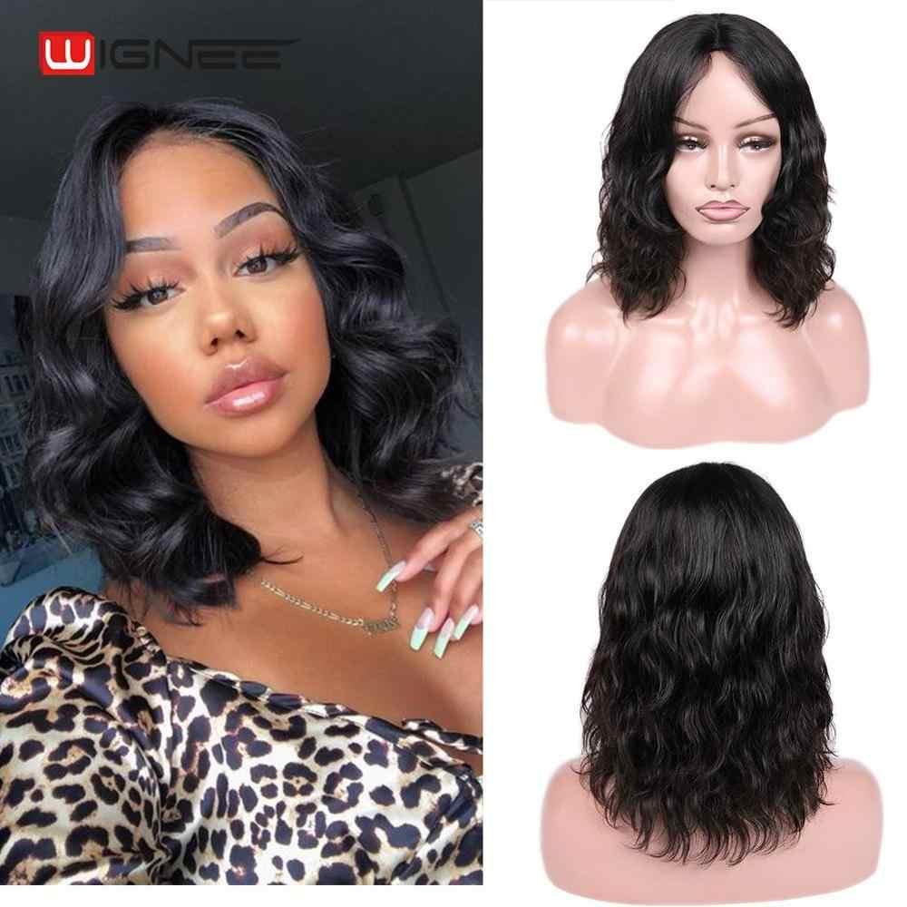 Wignee onda natural parte do laço curto perucas de cabelo humano para as mulheres preto/99j/marrom cabelo 2020 novo barato macio remy perucas frete grátis