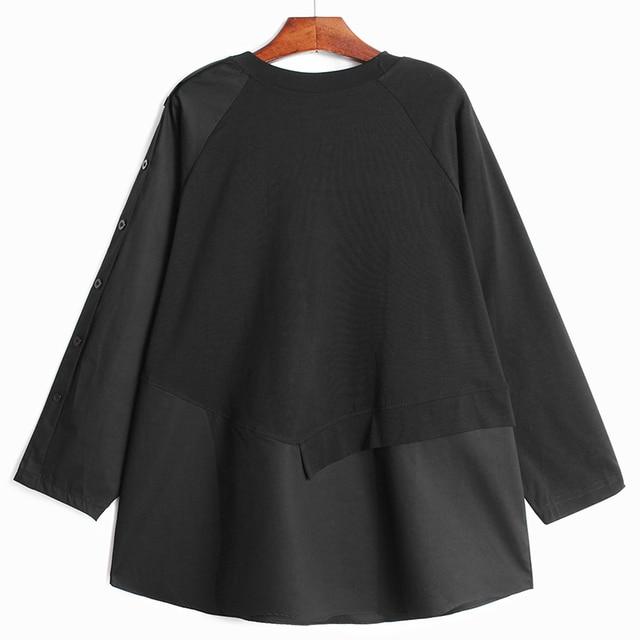 [EAM] Women Asymmetrical Spliced Button Big Size T-shirt New Round Neck Long Sleeve  Fashion Tide  Spring Autumn 2021 1DD3065 3