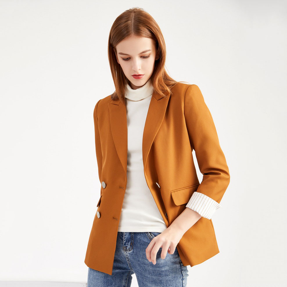Vintage Double Breasted Office Women Blazer 2020 Autumn Spring Casual Long Sleeve  Loose Suit Coat Female Elegant Chic Clothes