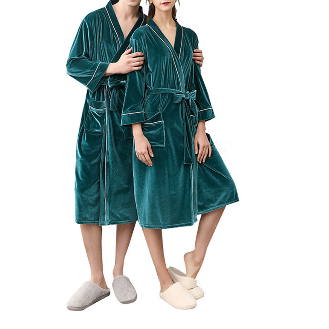 2019 Autumn And Winter Stitching Nightgown Long Section Men And Women Couple Pajamas New Bathroom Bathrobe Fashion Couple Robes