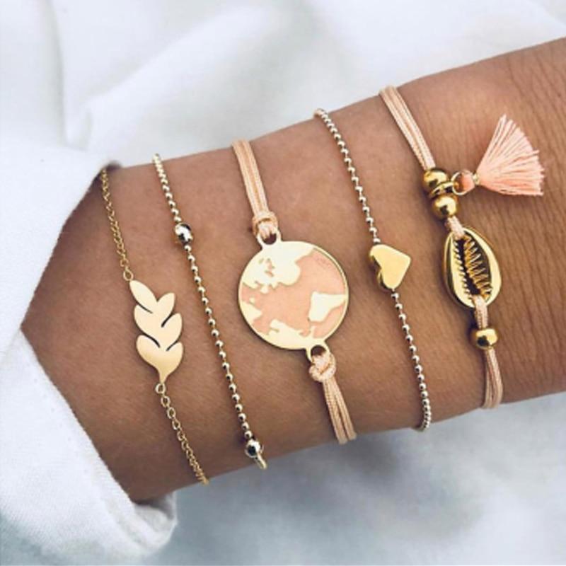 Tocona Bohemian Beads Chain Bracelets Bangles for Women Fashion Vintage Heart Compass Gold Color Chain Bracelets Sets Jewelry 1