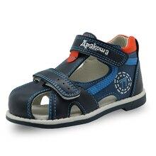 Apakowa 2019 letnie dziecięce buty marki zamknięte toe sandały dla małych chłopców ortopedyczne sportowe pu skórzane chłopięce sandały buty