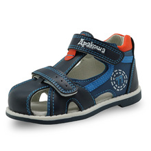 Apakowa 2019 summer kids shoes brand closed toe toddler boys sandals orthopedic sport pu leather baby boys sandals shoes