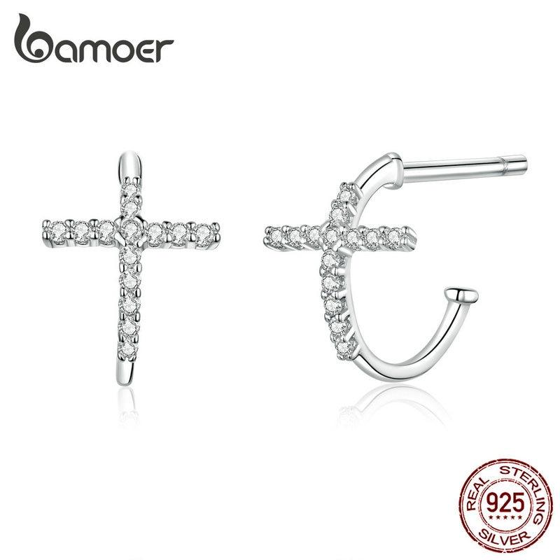 bamoer Sterling Silver 925 Hoop Earrings for Women Half Hoops Cross Fashion Jewelry Brincos Wedding Statement Jewelry SCE755