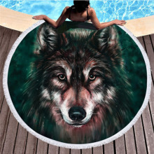 New multi-functional beach towel superfine fiber skull Yoga simulation pattern round shawl summer camping mat