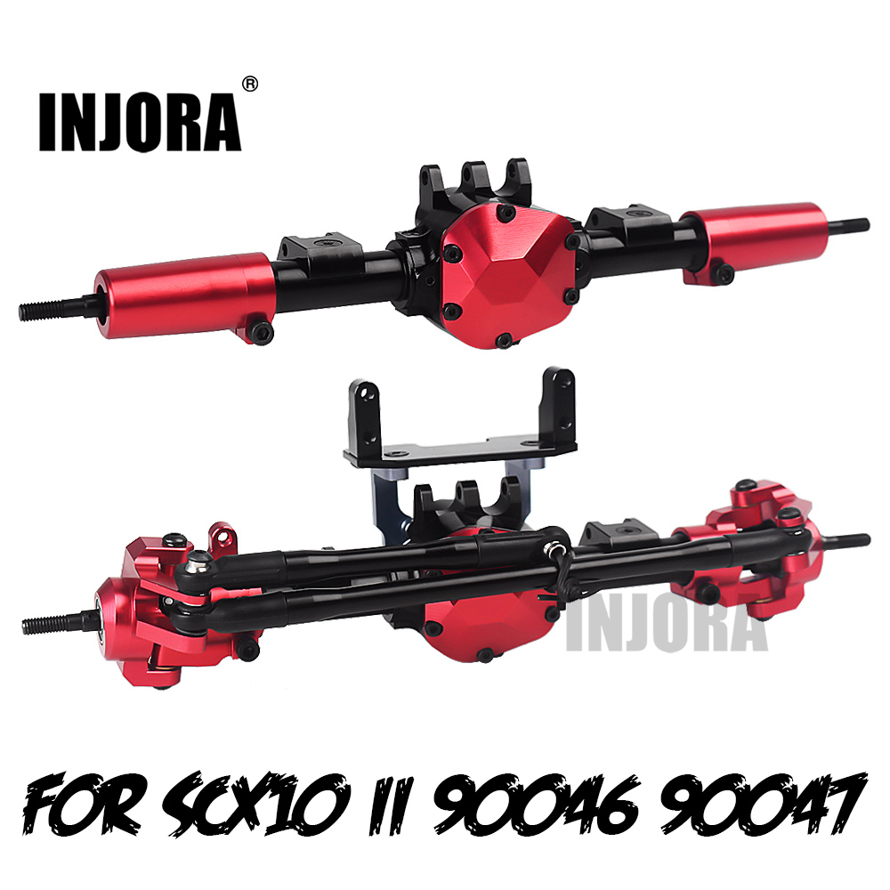 INJORA RC Car CNC Metal Front / Rear Axle With Protector For 1:10 RC Crawler Car Axial SCX10 II 90046 90047
