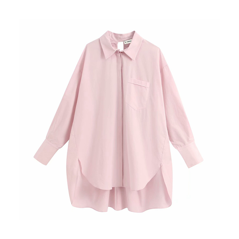 OLOMM Women Solid Long-Sleeve Shirt Spring New Simple Elegant Loose Blouse Fashion Casual All-Match Plus Size Top For Female 6