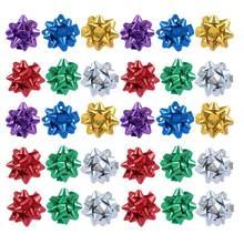 Lazos reflectantes de regalo, papel de regalo autoadhesivo, lazos para colgar en el árbol de Navidad, ornamento decorativo, colores mezclados, 100 Uds.
