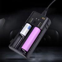 2 2 slots usb carregador de bateria rápido dispositivo adaptador de carregamento para 18650 20700 21700 26650 18350 10500 aa/aaa recarregável lítio|null| |  -