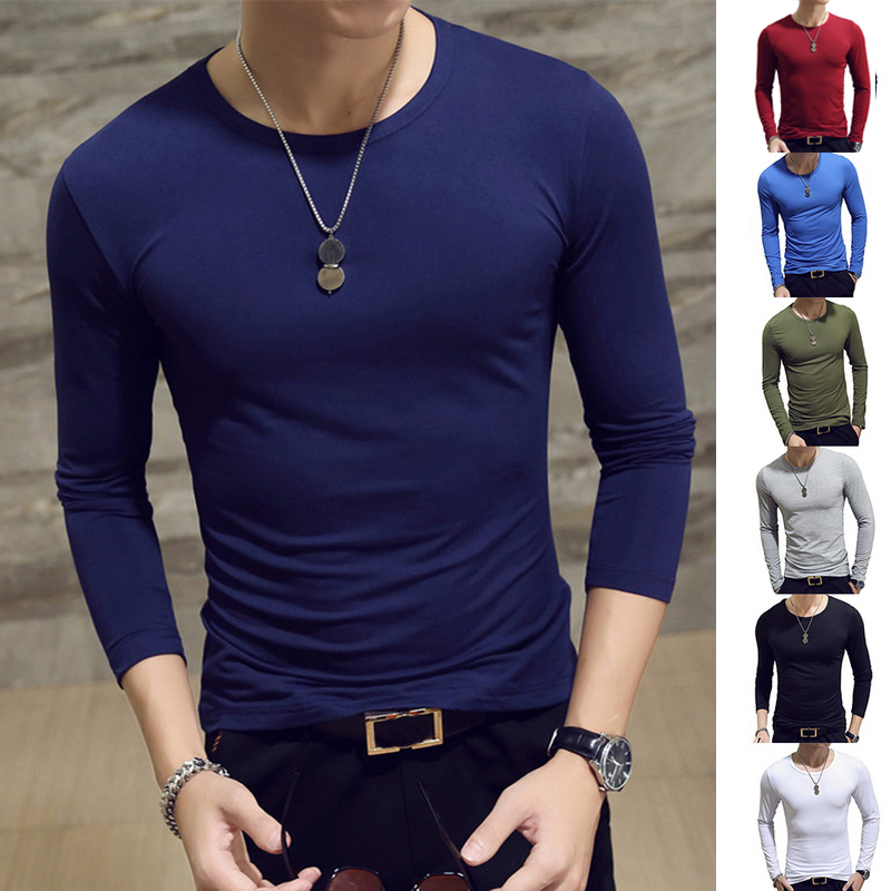Fashion Solid Color Tshirt For 2019 New Men's Slim Long-sleeved T-shirt Youth Men's T Shirts O-neck Casual Tops