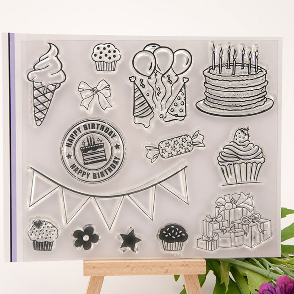 DIY Happy Birthday Transparent Silicone Stamp Clear Rubber Stamp Card Paper Craft Silicone Transparent Stamps