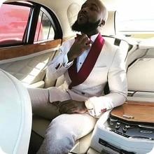 Men Suits Tuxedo Blazer Wedding White for Groom Burgundy Shawl Lapel Costume Slim-Fit