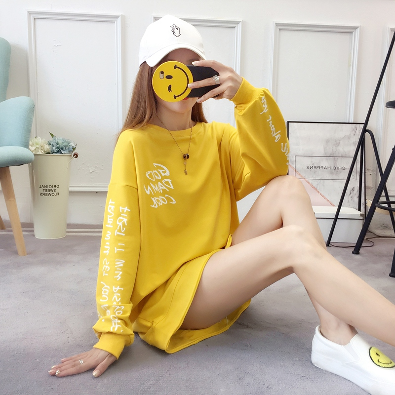 2019 autumn new Korean version of the XL T-shirt women's thin section long-sleeved loose hole wild T-shirt shirt women 66