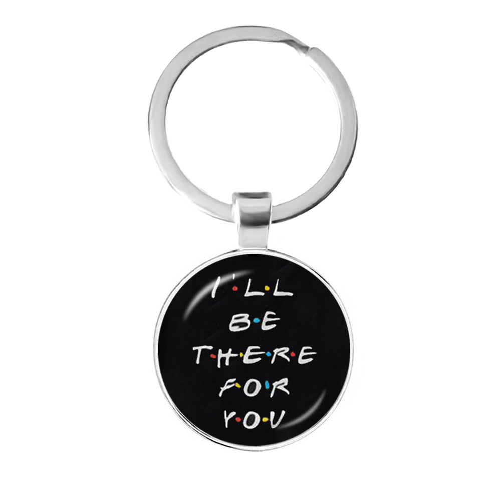 Friends TV Show Keychain 25th Anniversary Series Cartoon Fun Pattern 25mm Glass Cabochon Key Ring Keyholder For Good Friend Gift