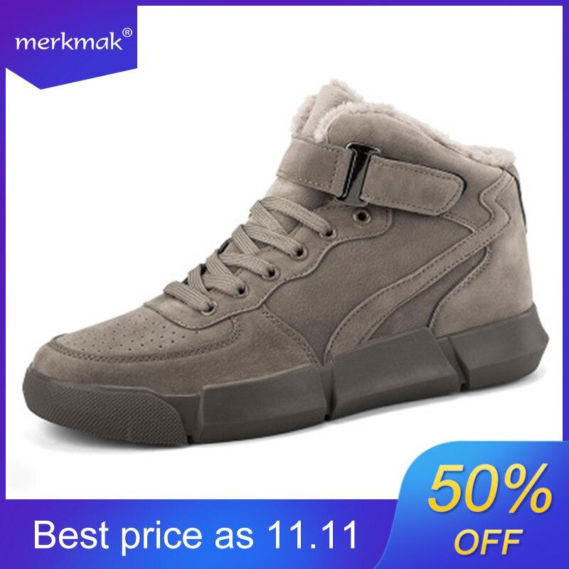Merkmak Winter Men Boots Plus Velvet Warm Sneakers Outdoors Waterproof Shoes Men High Top Lightweight Boots Solid Footwear