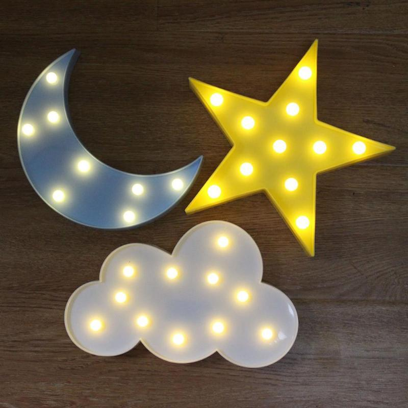 Home Nordic 3D LED Night Light Star Moon Clouds Kids Cartoon Kids Bedroom Decoration Lamp Lighting Decor Night Light
