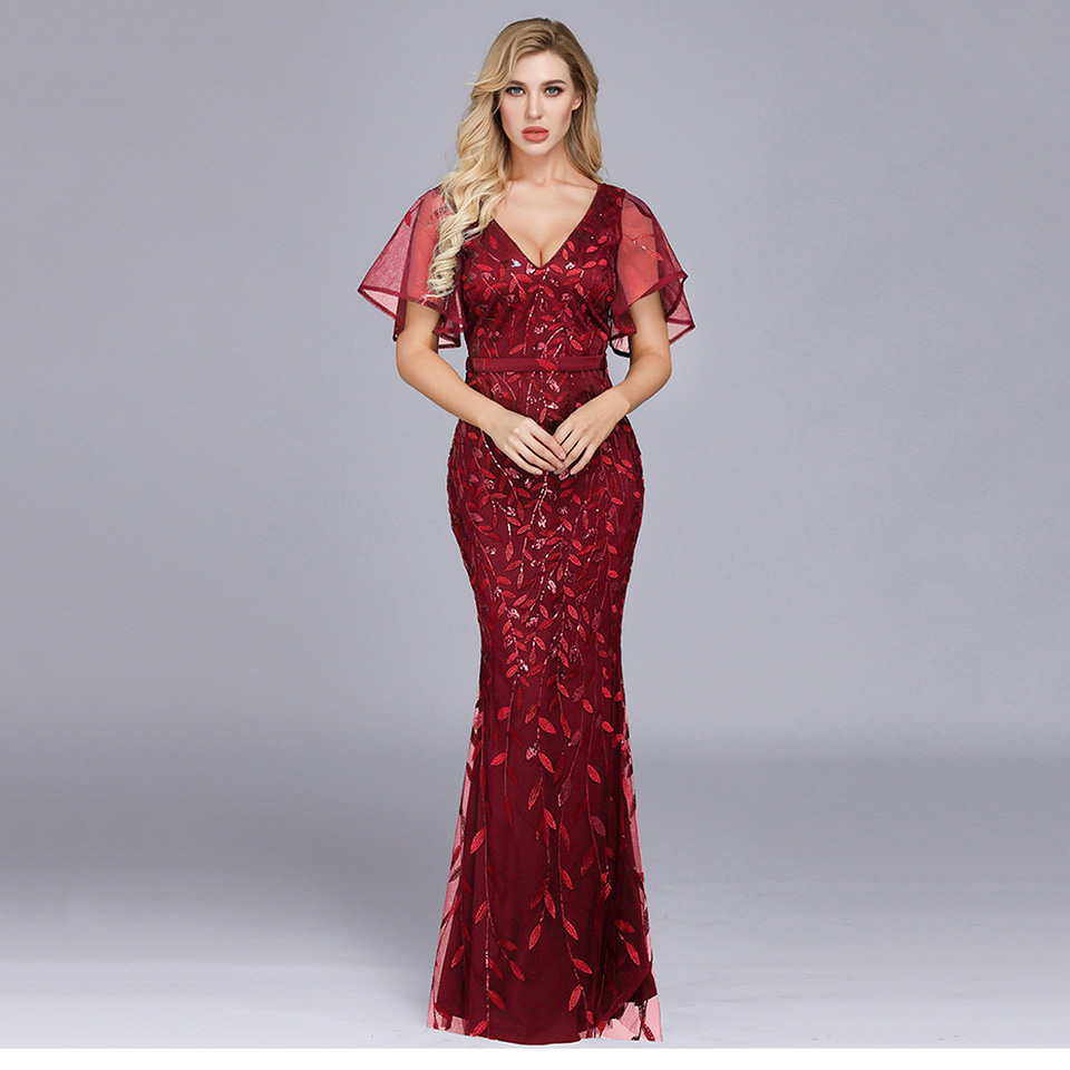 Burgundy Elegant V Neck Evening Dress Short Sleeves Mermaid Floor Length Zipper Up Sequins Wedding Party Formal Evening Dresses