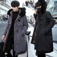Мужские парки, новинка года, зимняя куртка, Длинная утепленная теплая хлопковая верхняя одежда с большим мехом и капюшоном, пальто с капюшоном, можно носить с обеих сторон