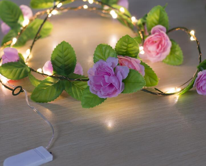 LED Luminescent Cane Copper Wire Lamp Decoration Wedding Branches Flower Lamp String 1m 10led