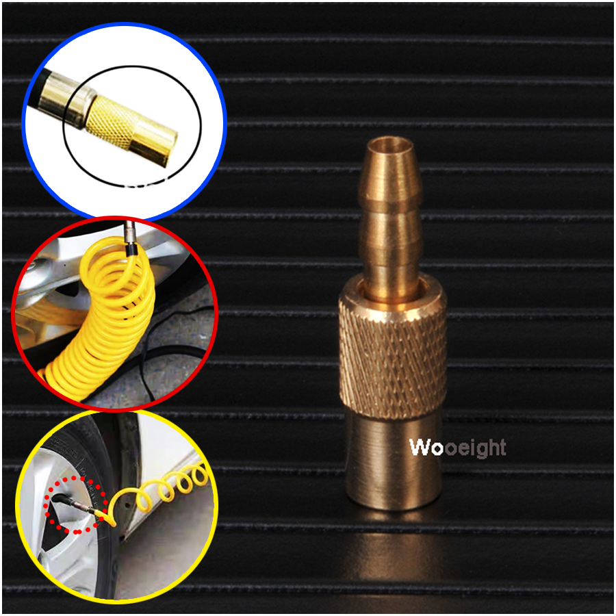 Wooeight 1Pc Auto Brass 6mm Tyre Wheel Air Chuck Inflator Tire Pump Valve Clip Clamp Connector Adapter Car Accessories
