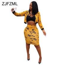 ZJFZML Plus Size Sexy Two Piece Matching Set Autumn Black Yellow Print Clothes Long Sleeve Front Zipper Crop Top+Midi Skirts